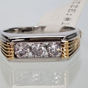Other - Two tone Silver Gold CZ Band Ring